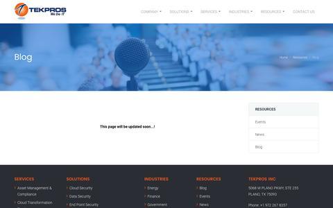 Screenshot of Blog tekpros.com - Tekpros Events | Technology & Consulting Services Events | Tekpros - captured Nov. 15, 2018