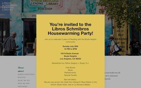 Screenshot of About Page librosschmibros.org - About — Libros Schmibros Lending Library - captured July 19, 2018