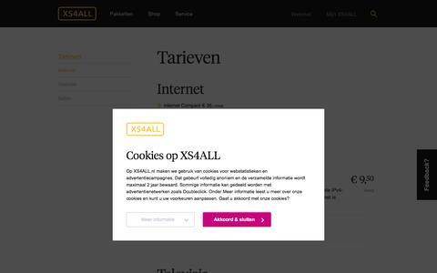 XS4ALL | Tarieven: Een overzicht van alle tarieven van de producten van XS4ALL