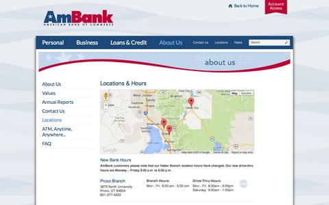 Screenshot of Locations Page myambank.com - American Bank of Commerce Branch Locations & Hours | Provo - Lindon - Heber City | UT - captured Oct. 4, 2014