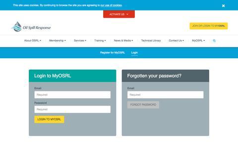 Screenshot of Login Page oilspillresponse.com - Login - captured Oct. 19, 2017