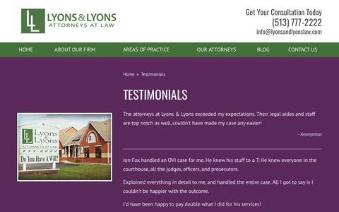 Screenshot of Testimonials Page lyonsandlyonslaw.com - Testimonials Archive - Lyons & Lyons - captured Sept. 30, 2018