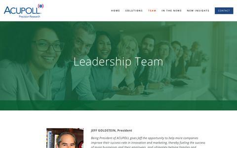 Screenshot of Team Page acupoll.com - Leadership Team — Acupoll - captured Oct. 3, 2018