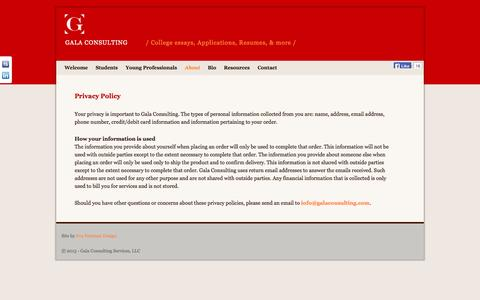 Screenshot of Privacy Page galaconsulting.com - Privacy Policy | Gala Consulting - captured Oct. 1, 2014