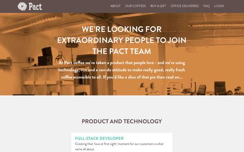 Screenshot of Jobs Page pactcoffee.com - Pact | Delivering fresh, better tasting coffee - captured Dec. 17, 2014