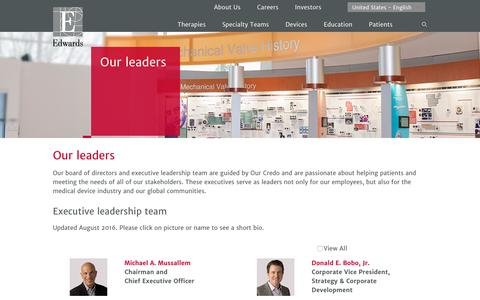 Our leaders | Edwards Lifesciences