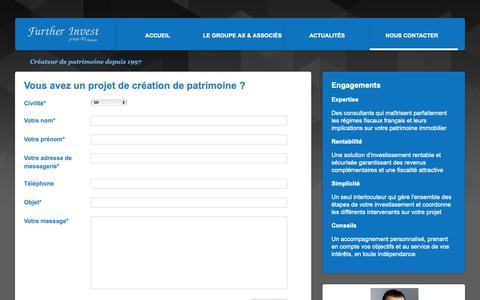 Screenshot of Contact Page as-associes-further.com - Nous contacter | Groupe AS & Associés - captured Oct. 25, 2018