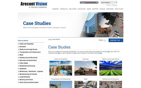 Screenshot of Case Studies Page arecontvision.com captured July 14, 2019