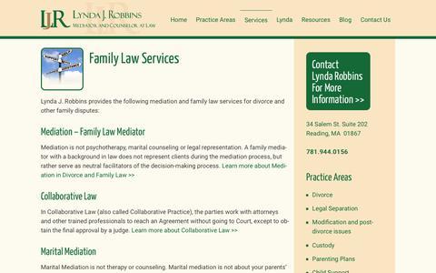 Screenshot of Services Page familydisputesolutions.com - Family Law Services - Family Law Services MA - Lynda Robbins - captured Sept. 7, 2017