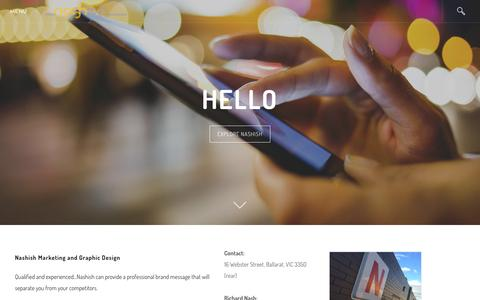 Screenshot of Home Page nashish.com - Nashish Marketing and Design - Home - captured Feb. 27, 2016