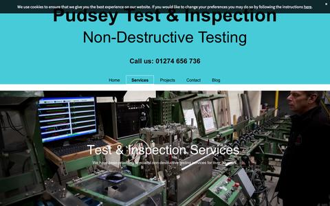 Screenshot of Services Page pudseytest.co.uk - Test & inspection services based in Pudsey - captured Feb. 2, 2016