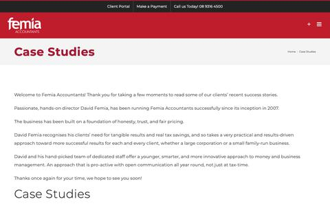 Screenshot of Case Studies Page femia-accountants.com.au - Case Studies - Femia Accountants - captured Oct. 10, 2018