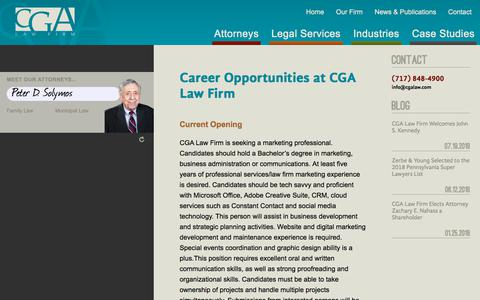 Screenshot of Jobs Page cgalaw.com - Career Opportunities at CGA Law Firm | CGA Law Firm - captured Sept. 25, 2018