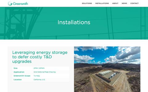 Screenshot of Developers Page greensmithenergy.com - Greensmith Energy |   Installations - captured April 6, 2016