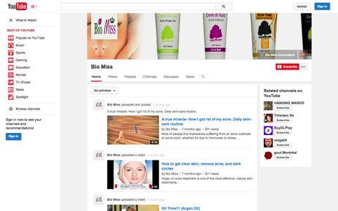 Screenshot of YouTube Page youtube.com - Bio Miss  - YouTube - captured Oct. 23, 2014