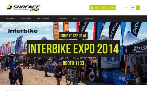 Screenshot of Home Page surface604.com - Electric Fat Bike | Surface 604 | Snow, Beach, Mountain Fat Tire Bikes - captured Sept. 30, 2014