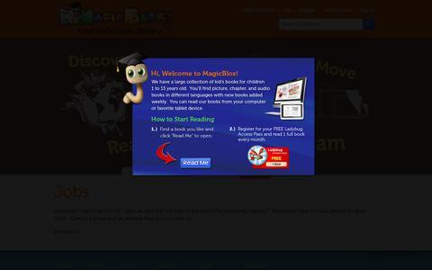 Screenshot of Jobs Page magicblox.com - Jobs | MagicBlox Online Kid's Book Library - captured Nov. 17, 2018