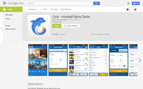 Screenshot of Android App Page google.com - Ctrip - Hotels&Flights Deals - Android Apps on Google Play - captured Oct. 25, 2014