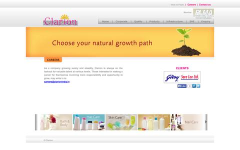 Screenshot of Jobs Page clarionindia.in - Welcome to Clarion Group - captured Oct. 2, 2014