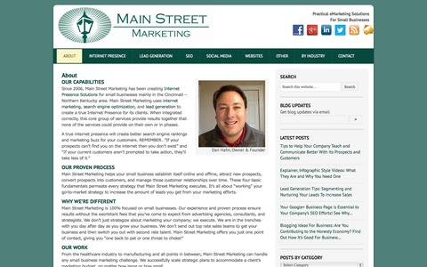 Screenshot of About Page main-street-marketing.com - About Man Street Marketing | Marketing for Small Businesses | Northern Kentucky & Greater Cincinnati | main-street-marketing.com - captured Sept. 30, 2014