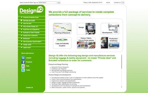 Screenshot of Services Page design-iq-ltd.com - Design IQ - Bag design and manufacture - product design | Design IQ - captured Sept. 30, 2014