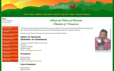 Screenshot of About Page heartofvt.com - About the Hardwick Vermont Chamber of Commerce, the heart of Vermont, located in the Northeast Kingdom of Vermont | Heart of Vermont Chamber of Commerce - captured June 17, 2016