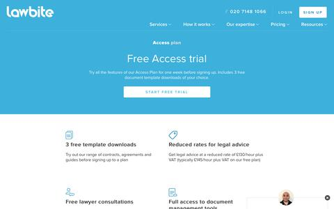 Screenshot of Trial Page lawbite.co.uk - Documents and Legal Advice for SMEs Free Trial | LawBite - captured April 11, 2019