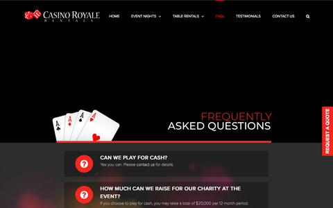 Screenshot of FAQ Page casinoroyalerentals.com - Frequently Asked Questions – casino royale rentals - captured July 16, 2018
