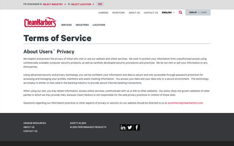 Screenshot of Terms Page cleanharbors.com - Terms of Service | cleanharbors.com - captured Oct. 20, 2017