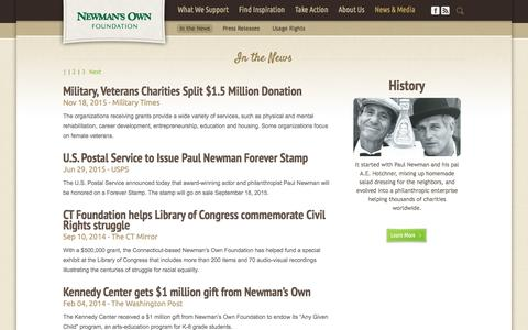 Screenshot of Press Page newmansownfoundation.org - Newman's Own Foundation | Newsroom - captured March 8, 2016
