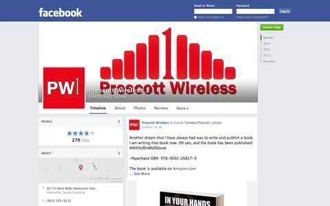 Screenshot of Facebook Page facebook.com - Prescott Wireless 1 - Hartsville, SC - Electronics Store | Facebook - captured Oct. 22, 2014