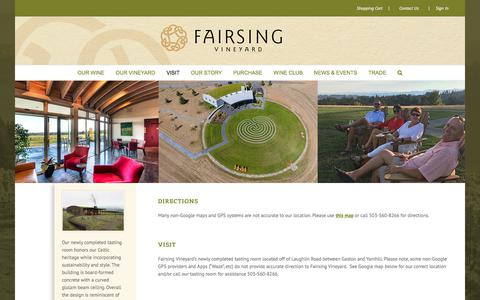 Screenshot of Maps & Directions Page fairsingvineyard.com - Visit | Fairsing Vineyard - captured June 5, 2017