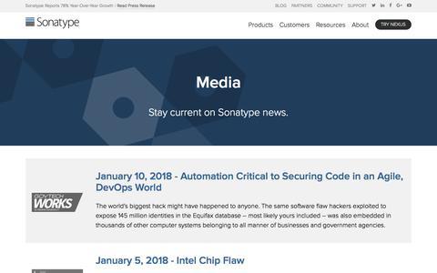Screenshot of Press Page sonatype.com - Media | Sonatype - captured Jan. 15, 2018