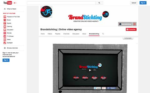 Screenshot of YouTube Page youtube.com - Brandstichting | Online video agency  - YouTube - captured Oct. 23, 2014