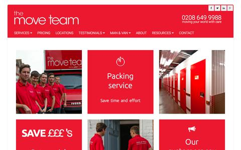 Screenshot of Home Page themoveteam.co.uk - Moving Company Services in London | Removals London - captured June 17, 2017