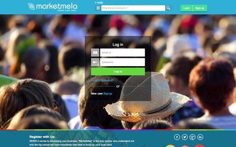 Screenshot of Login Page marketmela.com - Free Promotion India, Himachal Pradesh, Jammu and Kashmir, Lakshadweep - captured Sept. 29, 2014