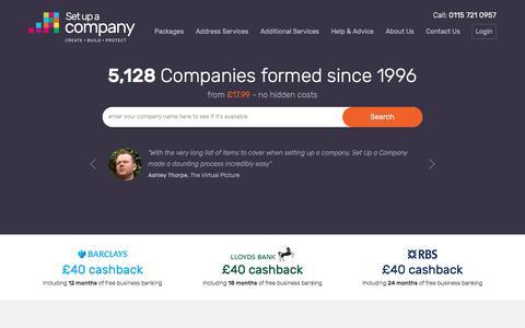 Screenshot of Home Page setupacompany.co.uk - Set up a Company - UK Limited Company Formations - captured Dec. 18, 2016