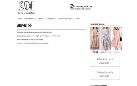 Screenshot of Menu Page koreandramafashion.com - Advertise - Korean Drama Fashion - captured Nov. 8, 2016