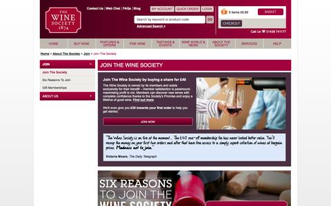 Screenshot of Signup Page thewinesociety.com - Join The Society - Join - About The Society - The Wine Society - captured Feb. 16, 2016