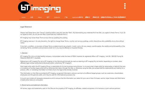Screenshot of Terms Page btimaging.com - BT Imaging photoluminescence imaging PL Imaging   Legal - captured Oct. 9, 2017