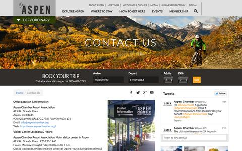 Screenshot of Contact Page aspenchamber.org - Contact Us | Aspen CO Chamber - captured Oct. 31, 2014