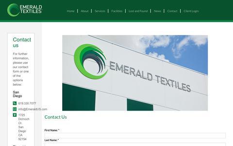 Screenshot of Contact Page emeraldus.com - Contact Us | Emerald Textiles - captured Sept. 28, 2018