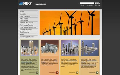 Screenshot of Home Page swiftfilters.com - Filter Element | Custom Filter | Industrial Filter | Stainless Filter - captured Oct. 9, 2014