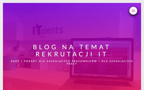 Screenshot of Blog italents.pl - Blog na temat rekrutacji IT | ITalents - captured Sept. 11, 2018