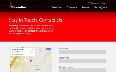 Screenshot of Contact Page bloomfire.com - Contact Us | Bloomfire Business Collaboration Software - captured Oct. 28, 2014