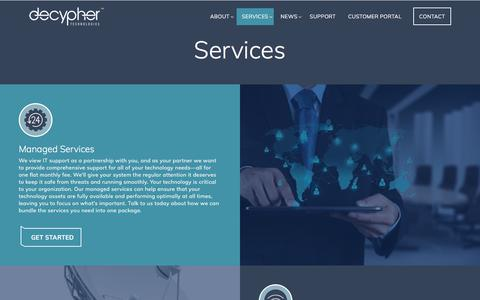 Screenshot of Services Page decyphertech.com - Services - Decypher Technologies - captured Oct. 12, 2017