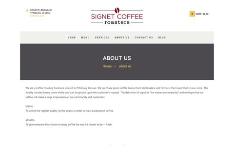 Screenshot of About Page signetcoffee.com - about us - Signet Coffee Roasters - captured Nov. 3, 2017