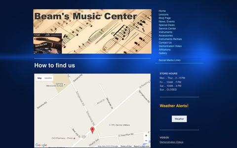 Screenshot of Maps & Directions Page beamsmusicstudio.com - Directions to BeamŐs Music Studio in Ephrata, PA - captured Dec. 30, 2015