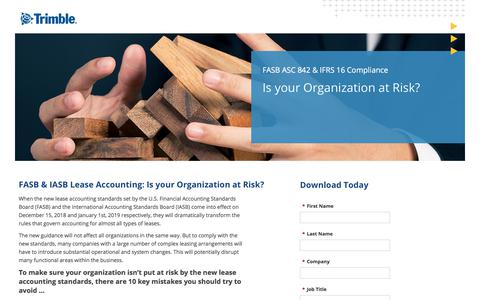 Screenshot of Landing Page trimble.com - FASB/IASB - Is your organization at risk? - captured April 20, 2018