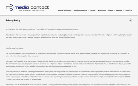 Screenshot of Privacy Page mediacontact.co.za - Privacy Policy   Media Contact - 3D Studio - captured Oct. 27, 2014